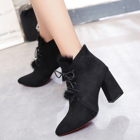 Fur Decoration Pointed Toe Lace UP Middle Chunky Heel Short Martin Boots