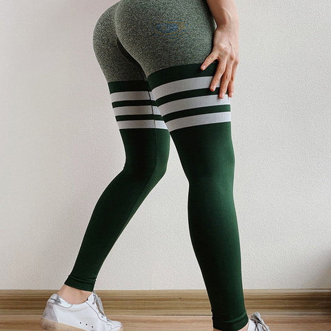 Summer High Waist Stretch Stripes Skinny Yoga Pants