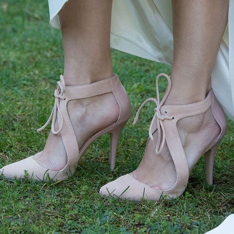 Sexy Nude Suede Cutout Strap High Heel Sandals