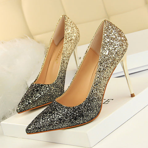Shinning Sequins Pointed Toe Stiletto High Heels Party Dress Shoes