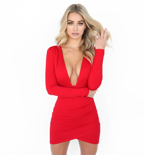 Deep V-neck Open Back Long Sleeves Short Dress