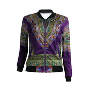 Stand Collar Retro Print Women Short Jacket Coat