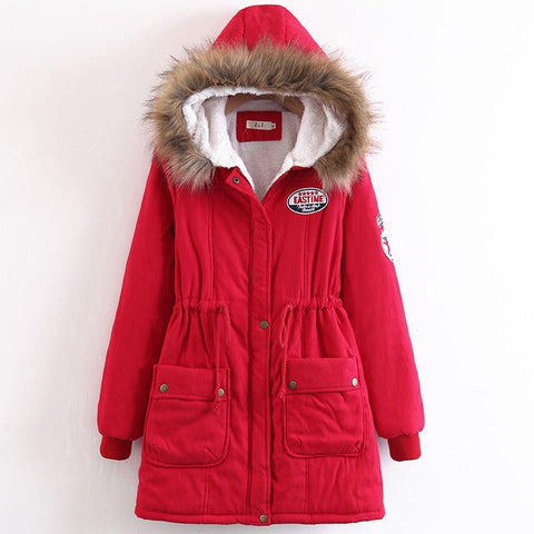 Faux Fur Collar Pockets Drawstring Women Slim Oversized Parka Jacket Coat