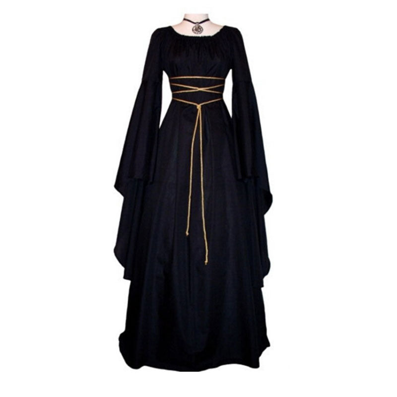 Solid Color Square Long Sleeves High Waist Women Long Halloween Dress