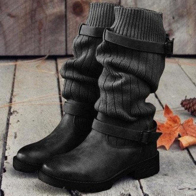 Knitted Mid Calf Buckled Sweet Boots