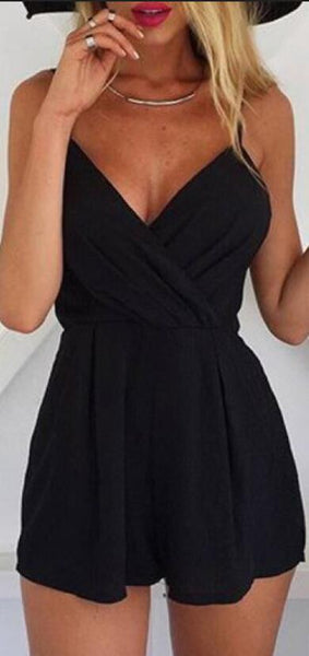 Black Spaghetti Strap Wrap Style Back Zipper Short Jumpsuit