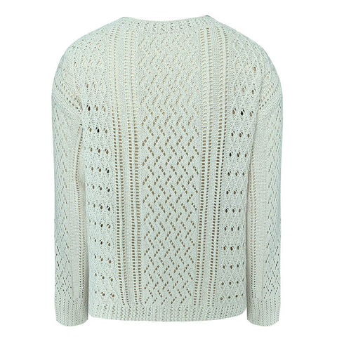 Hollow Out White Pullover Sweater