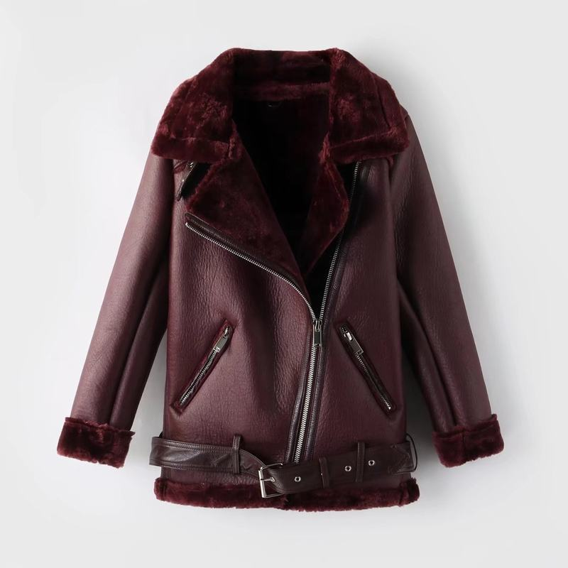 Faux Fur Lapel Collar Oblique Zippers Women Loose PU Jacket