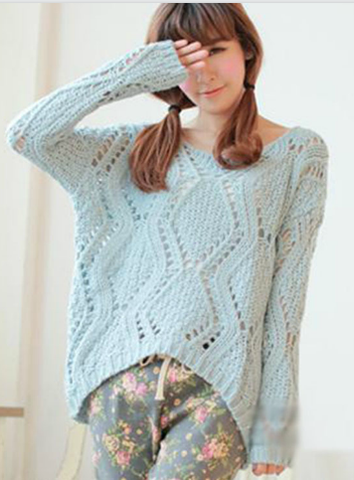 Asymmetric Pullover Crochet Loose Solid Short Sweater - Meet Yours Fashion - 1