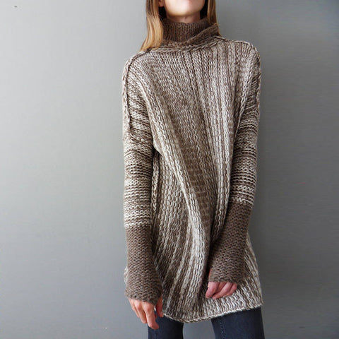 Irregular High Neck Patchwork Loose Women Oversized Pullover Sweater