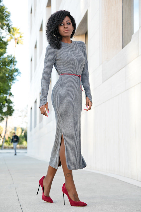 Long Sleeves Round Neck Split Pure Color Tee-length Knit Dress