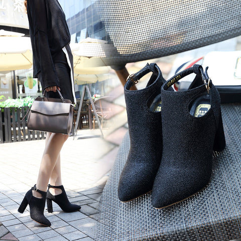 Hollow Out Pointed Toe Chunky High Heel Ankle Boots
