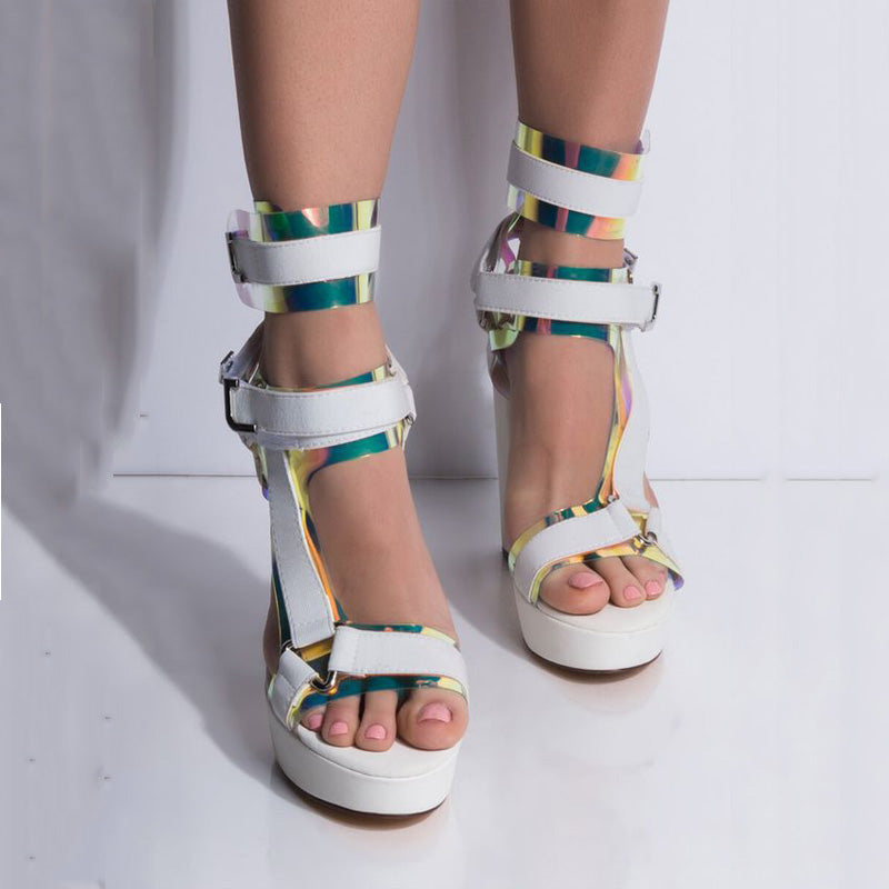 Buckle Platform Chunky Heel Colorblock High Heel Sandals