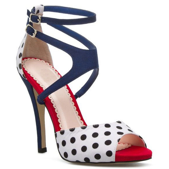 Polk Dot Ankle Wrap Peep Toe Stiletto High Heel Sandals
