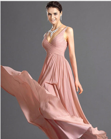 V-neck Backless Solid Spaghetti Strap Chiffon Long Bridesmaid Dress - Meet Yours Fashion - 1