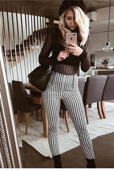 Plaid Zipper High Waist Long Skinny Pants