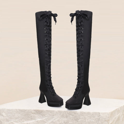 Fashion Bright Color Strap Platform High Heel Over Knee Boots