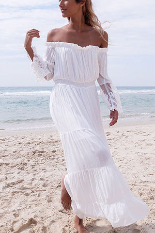 Off Shoulder Long Sleeves Lace Long Beach Dress