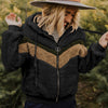 Pullover Drawstring Furry Patchwork Hoodies