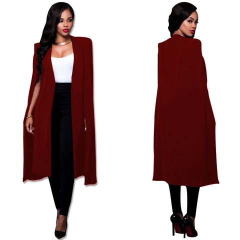 Deep V-neck Solid Color Women Cape Long Sleeves Blazer