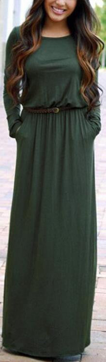Long Sleeve Scoop Side Pockets Long Dress With Belt