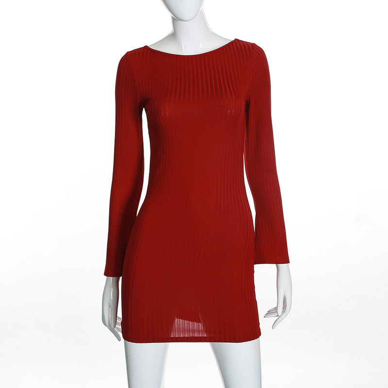 Backless Straps Bowknot Long Sleeves Knit Wear Short Dress
