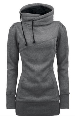 Long Slim Hooded Solid Color High Collar Hoodie - Meet Yours Fashion - 1