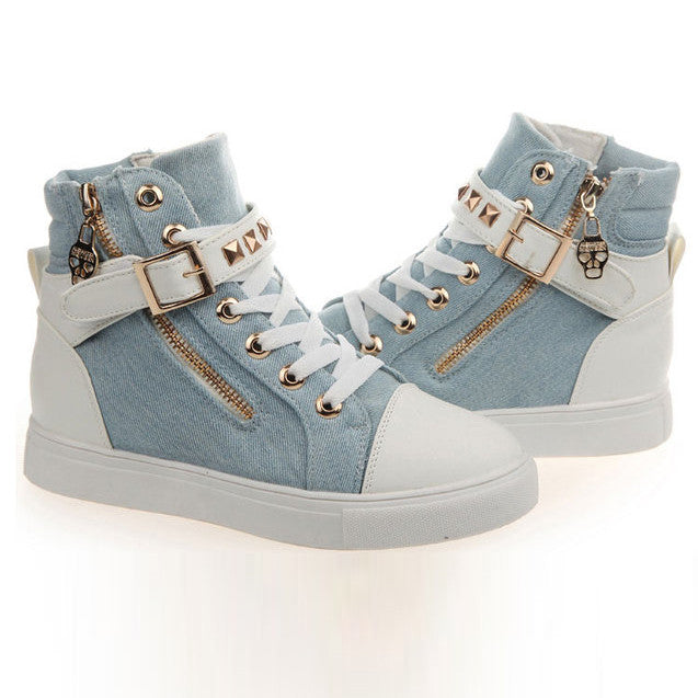 Fashion Skull Decorate Flat High Cut Women's Canvas Rivet Sneaker - MeetYoursFashion - 8