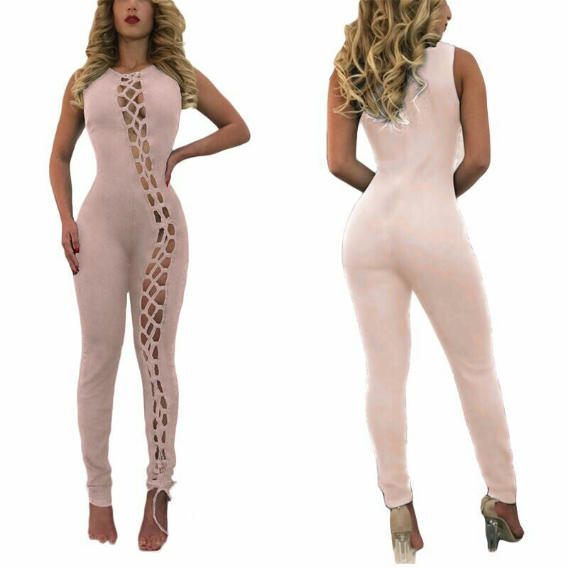 Sexy  Hollow Out Long Sleeve Long Jumpsuit