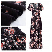 Deep V-neck High Waist Floral Print Tee Length Dress