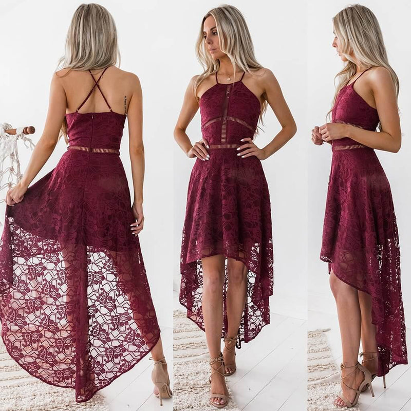 Spaghetti Straps Backless Lace Pure Color Irregular Long Dress