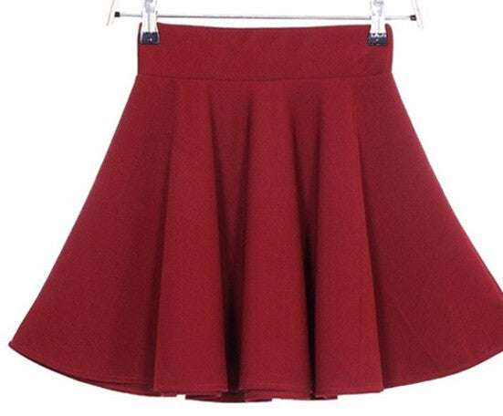Candy Color Stretch Skater Flared Pleated Mini Skirt - MeetYoursFashion - 16