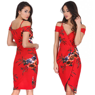 Spaghetti Straps Deep V-neck Split Print Long Dress