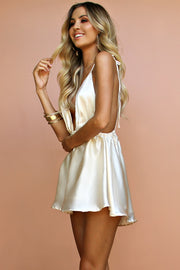 Pure Color V-neck Sleeveless Backless Short Dress