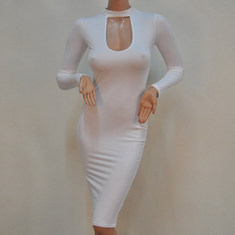 White Long-Sleeved Round Collar Bodycon Short Dress
