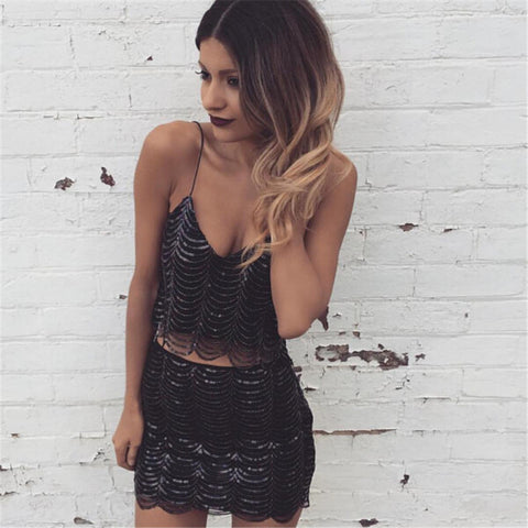 Sequin Sexy Suspender Skirt Two Piece Set