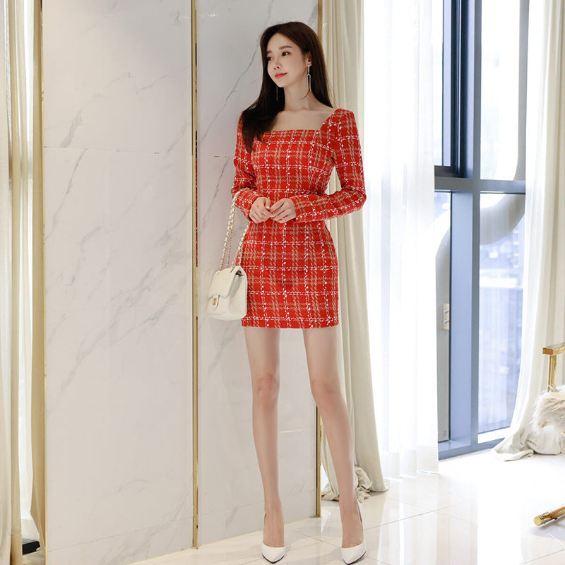 Square Collar Plaid Dress