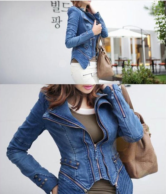 Rivets Shoulder Denim Tuxedo Jacket