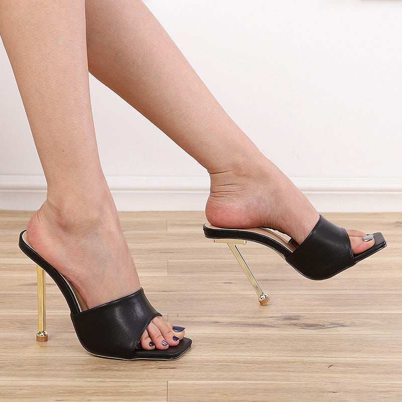 Slim High Heel Square Sandals