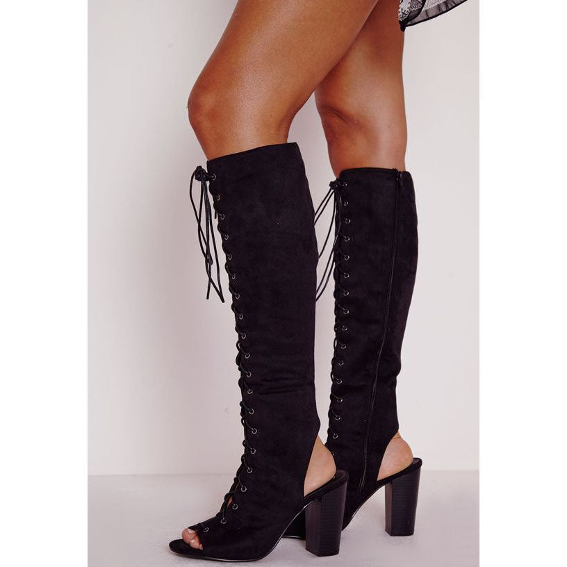Lace Up Cut Out Peep Toe High Chunky Heels Long Boot Sandals –  MeetYoursFashion 1ef6d1ce2c3f