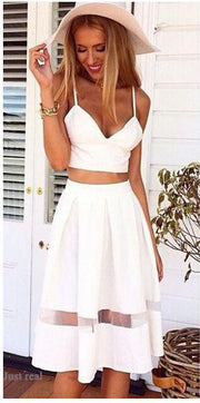 Spaghetti Strap Patchwork Crop Top with Long Skirt Two-piece Dress - MeetYoursFashion - 2