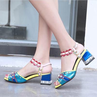 Summer Leahter Rivet Buckle Chunky Heel Sandals