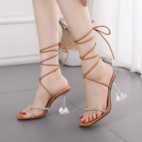 Summer Rhinestone Square Toe Strap Sandals