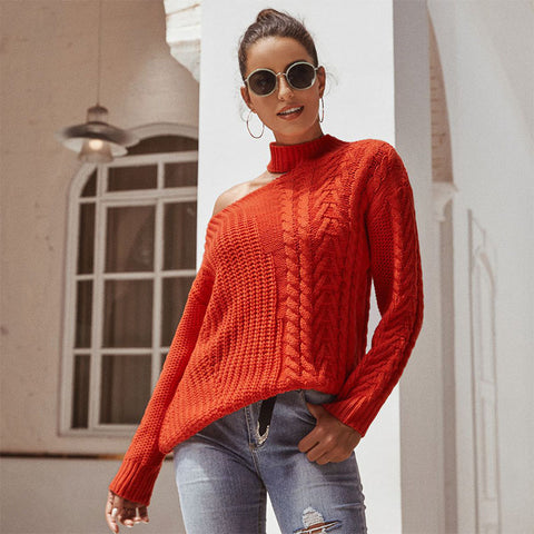 Cut Out Shoulder Cable Knit Sweater