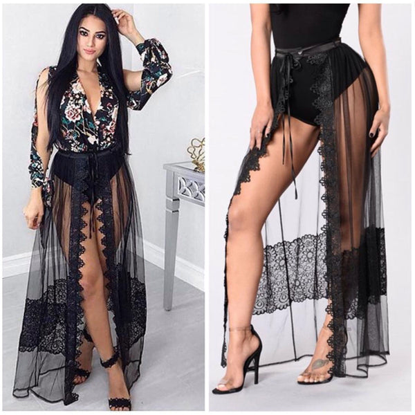 Deep V-neck Print Long Sleeves Jumpsuit with Transparent Split Skirt Two Pieces Dress Set