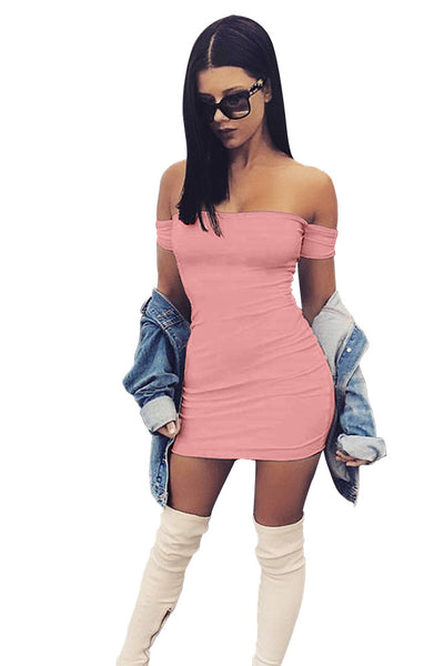 Candy Color Off Shoulder Short Sleeves Short Bodycon Dress