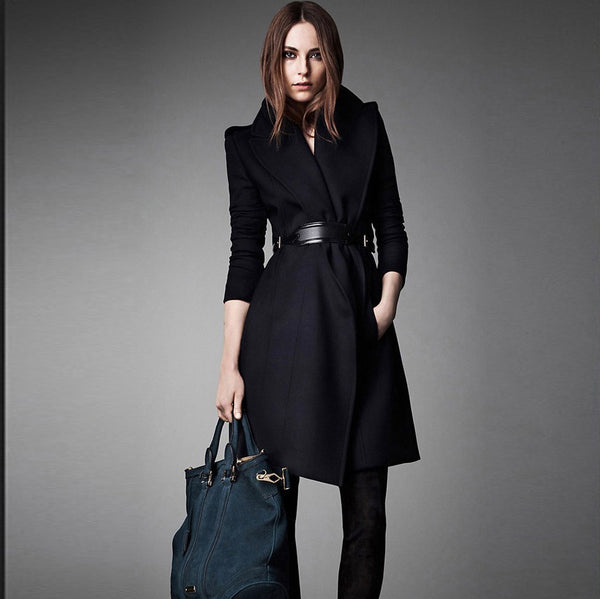 Pure Color Belt Lapel Long Sleeves Slim Long Coat