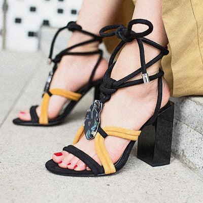 Black Gladiators Strappy Ankle Chunky Heel Sandals