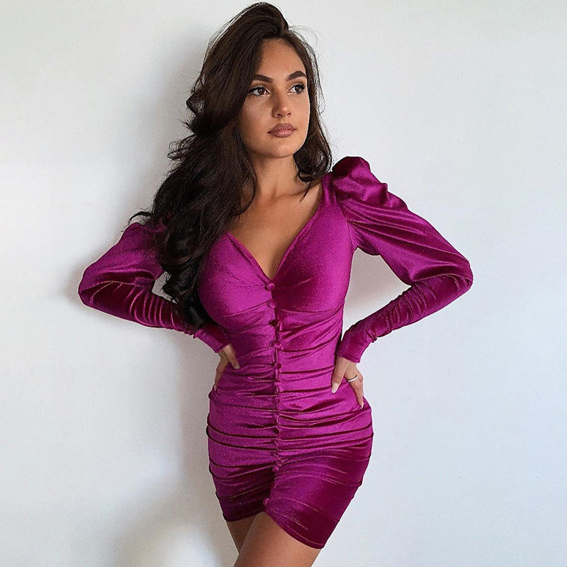 Purple Velvet Ruched Bodycon Long Sleeve Dress