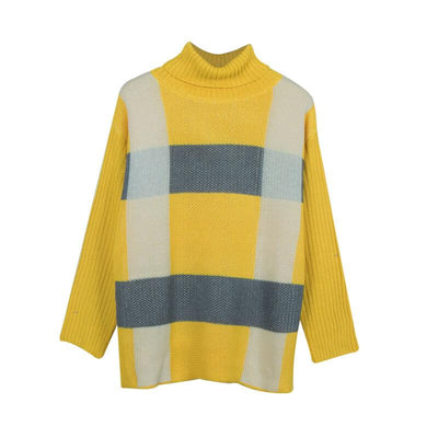 Turtleneck Colorblock Petite Long Sleeve Sweater